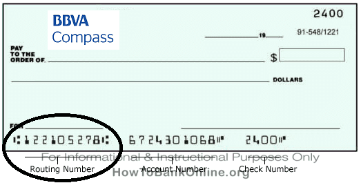 BBVA Compass Routing Number on Sample Check