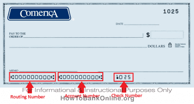 Comercia Bank Routing Number on Check