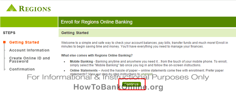 Continue to Enroll on Regions Bank