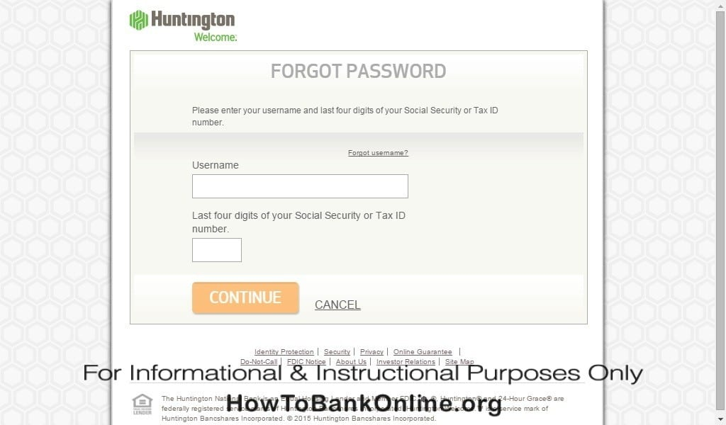Huntington Forgot Password(Enter Username and SSN)