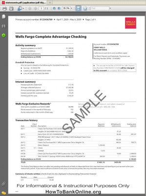 Sample Online Statement of Wells Fargo Bank