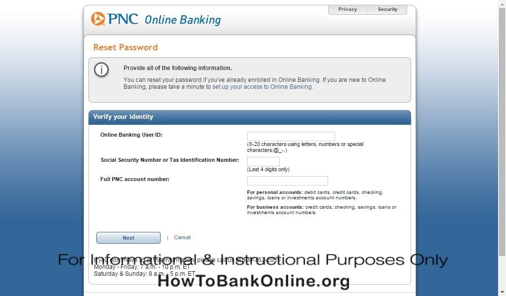 PNC Reset Userid and Password