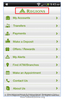 Regions Bank App on Android