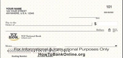 Routing Number on a TCF Bank check