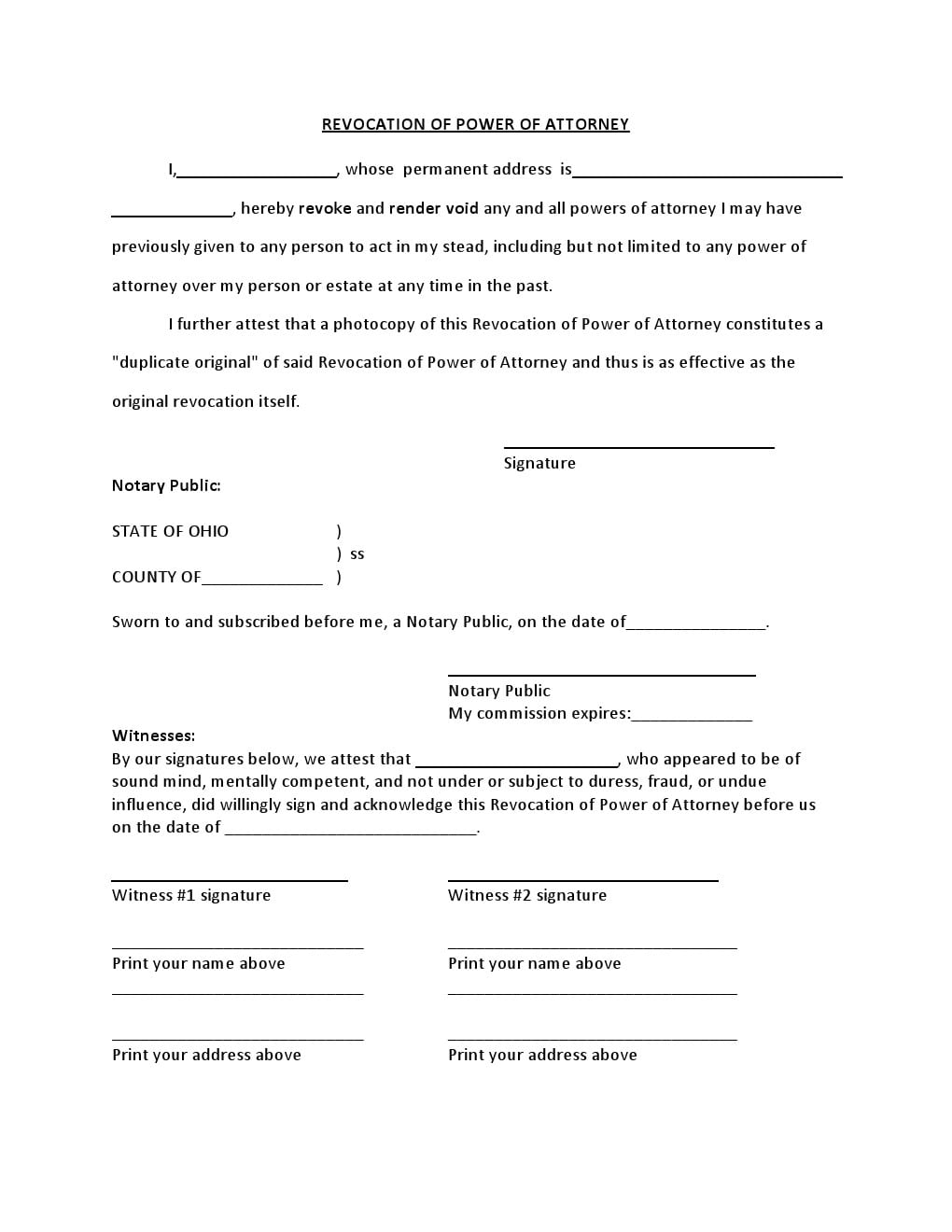 Free Ohio Power of Attorney Forms