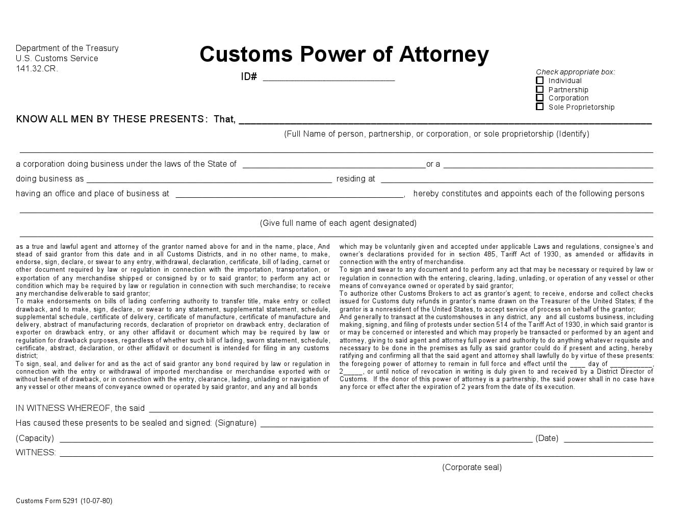 Free Customs Power of Attorney Forms