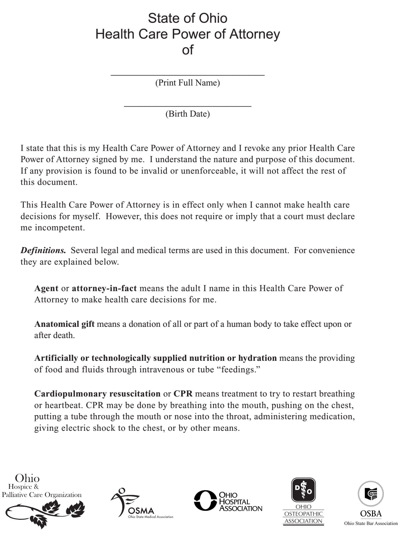 Ohio Health Care Power of Attorney Form