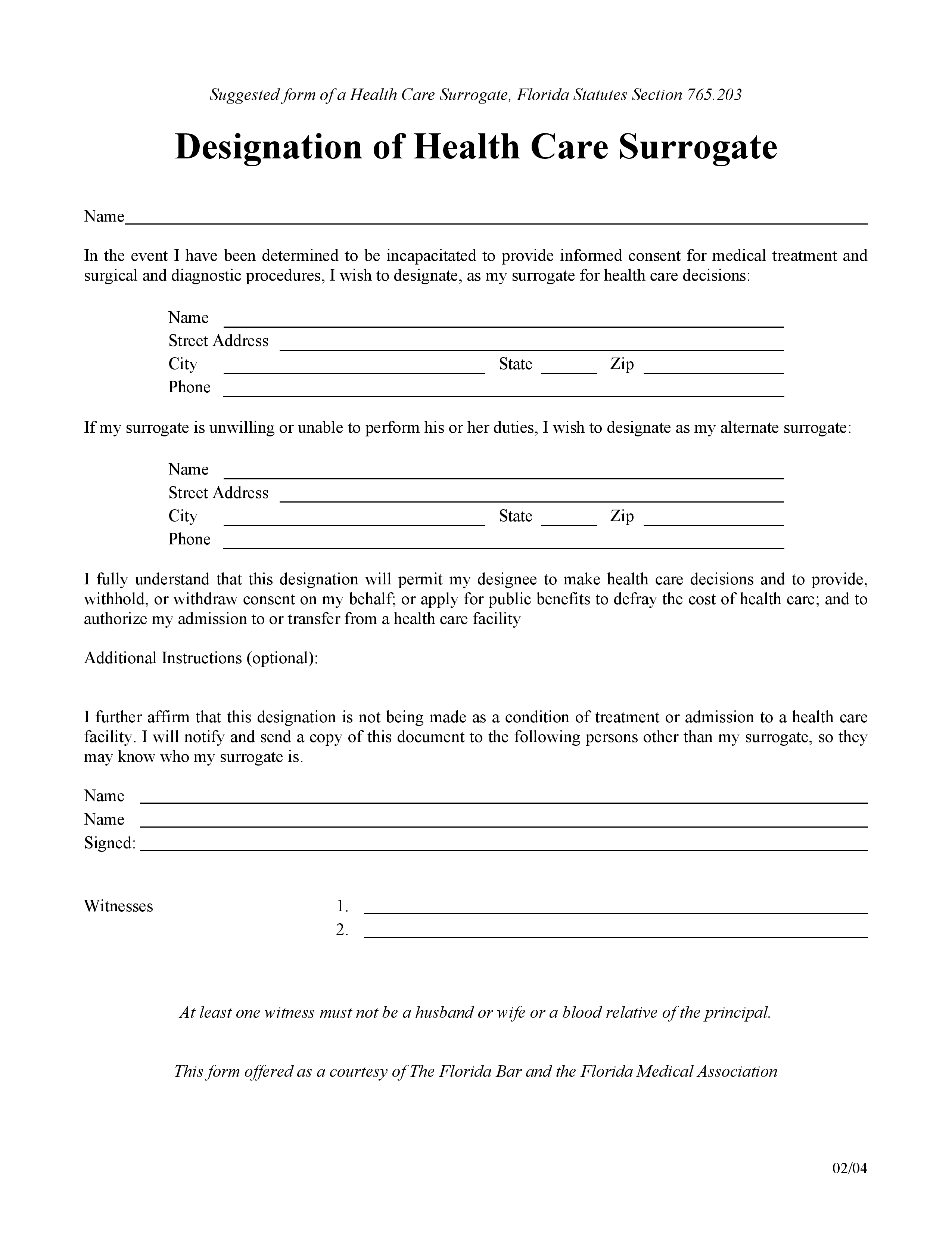 Free Florida Medical Of Attorney Form