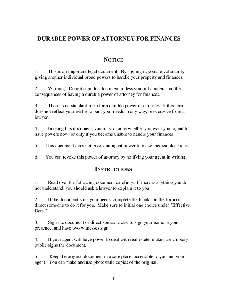 Michigan Durable Financial Power of Attorney Form