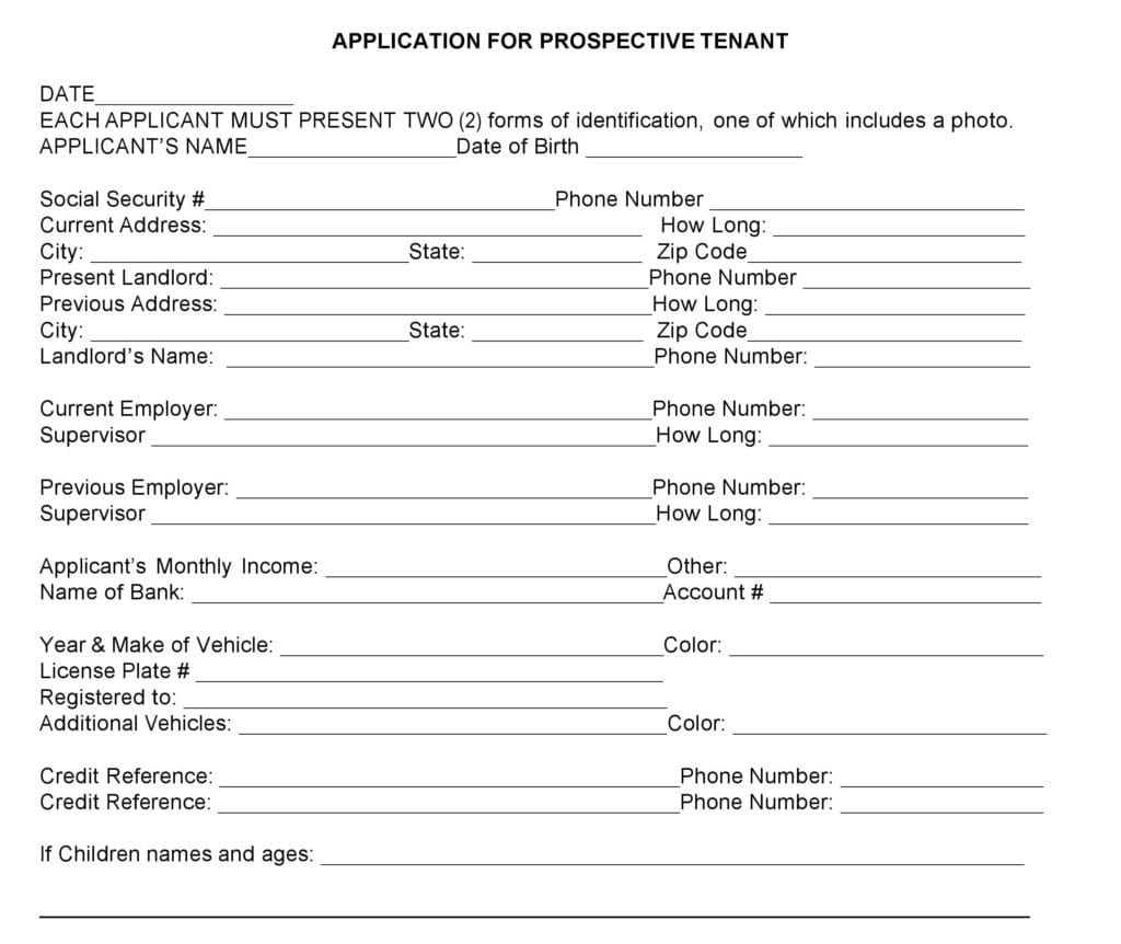 Nebraska Rental Application Form