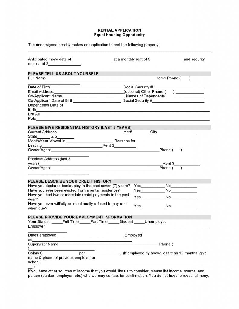Alabama Rental Application
