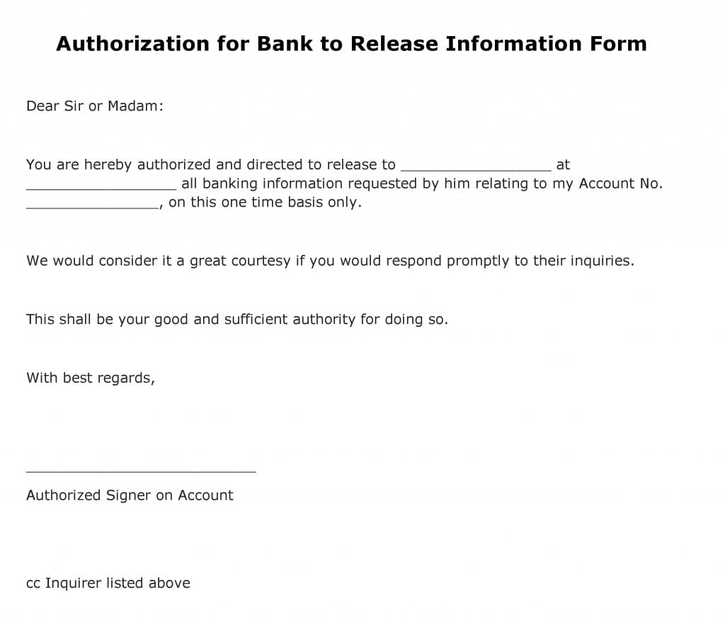 Authorization for Bank to Release Information Form