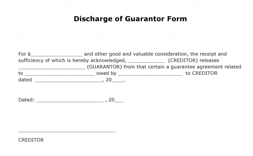Discharge of Guarantor Form