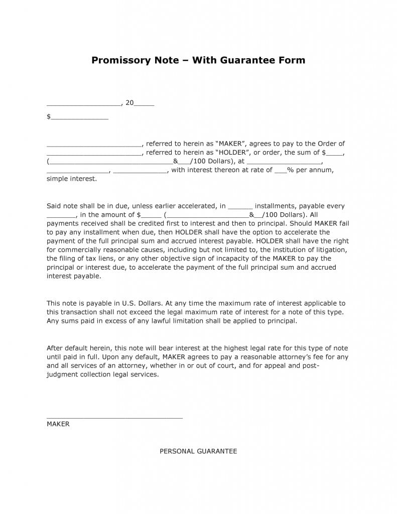 Promissory Note with Guarantee Form