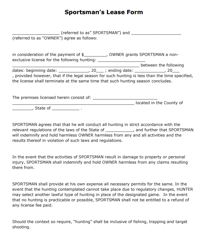 Sportsman's Lease Form