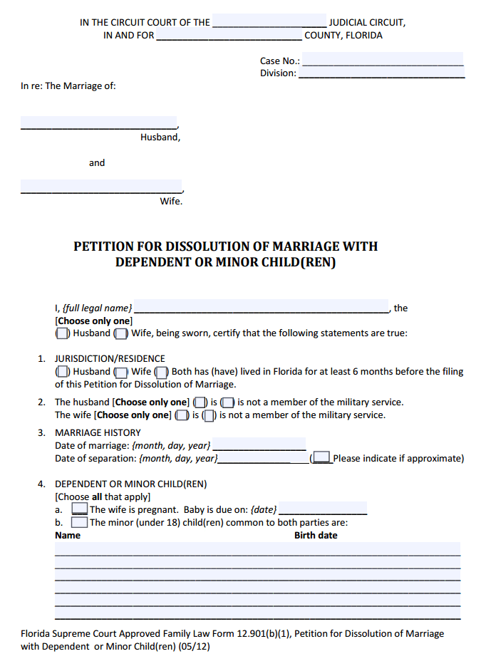 Florida Petition for Dissolution of Marriage with Dependent or Minor Children Form