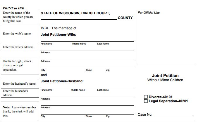Wisconsin Divorce Petition Step 1