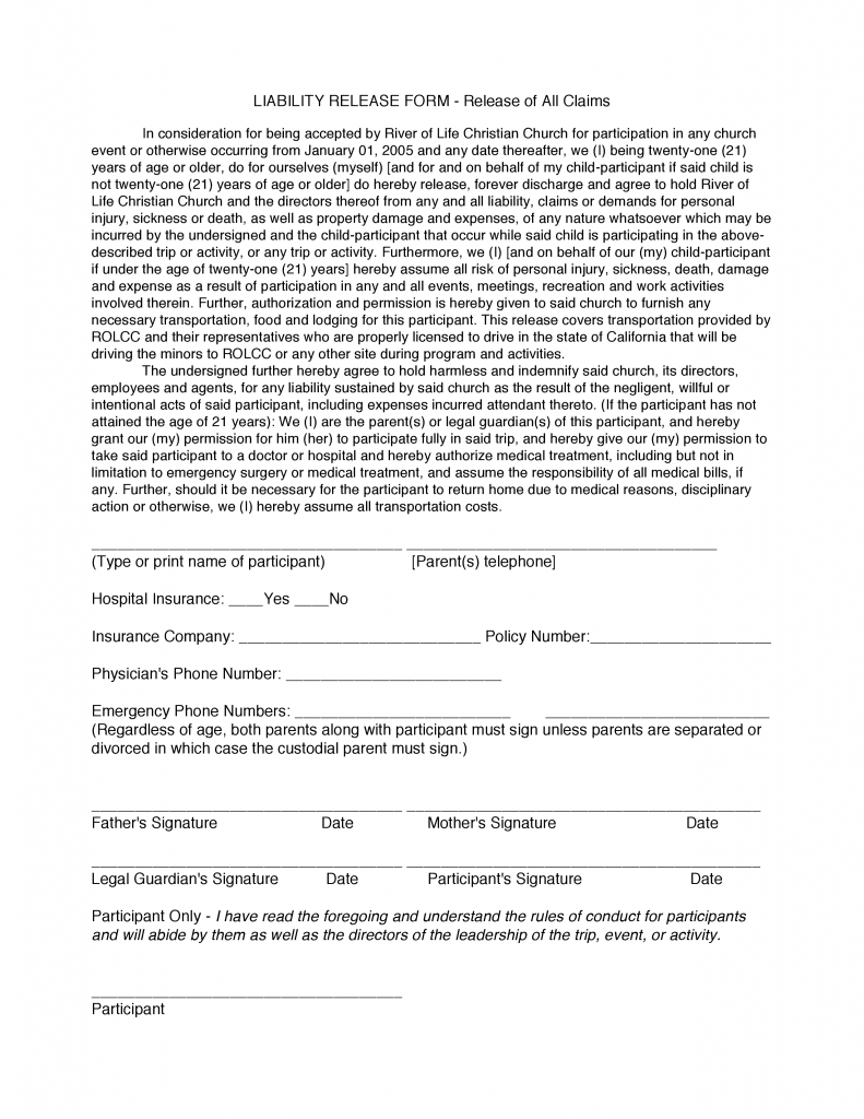 California Liability Release Form - Release of All Claims Form