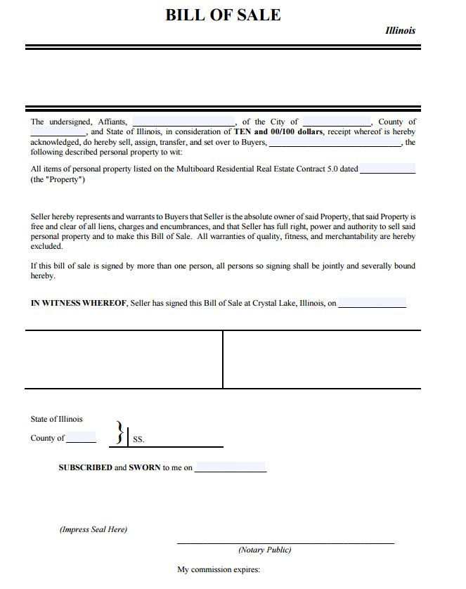 Illinois Personal Property Bill of Sale Form