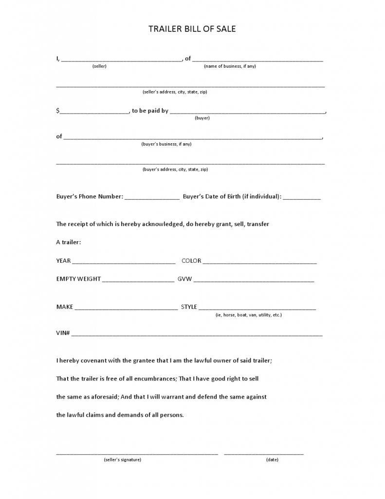Maine Trailer Bill of Sale Form
