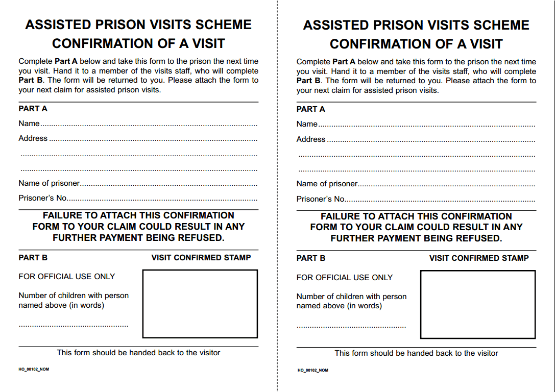 Assisted Prison Visits Confirmation