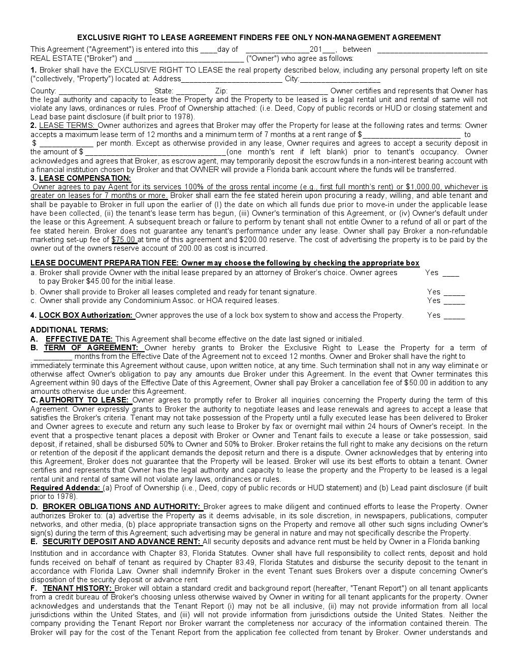 Florida Exclusive Right to Lease Agreement