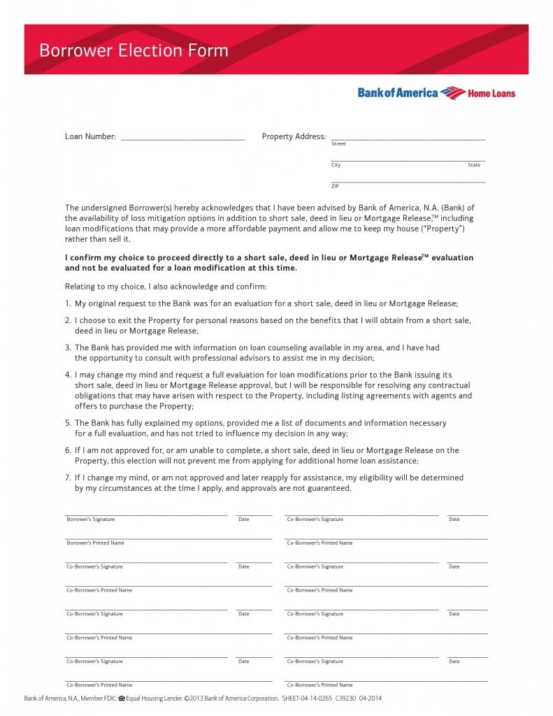Bank of America Borrower Election Form