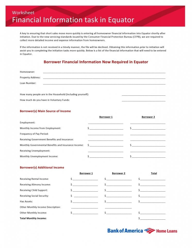 Bank of America Financial Information Task in Equator