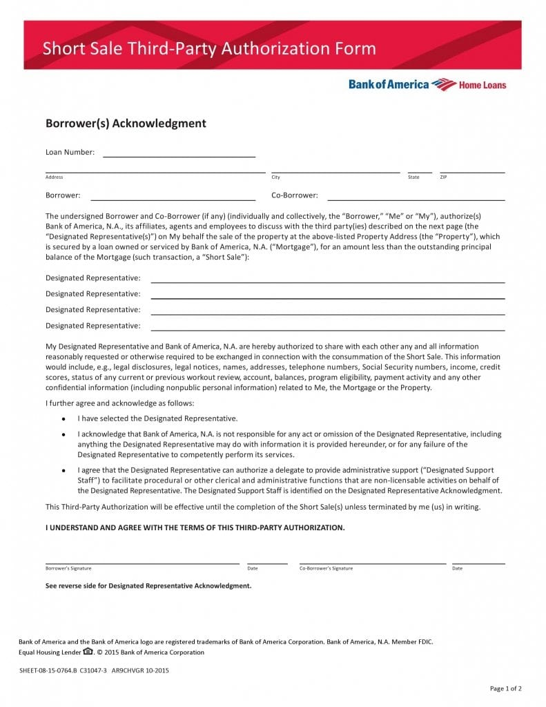 Bank of America Third Party Authorization Form