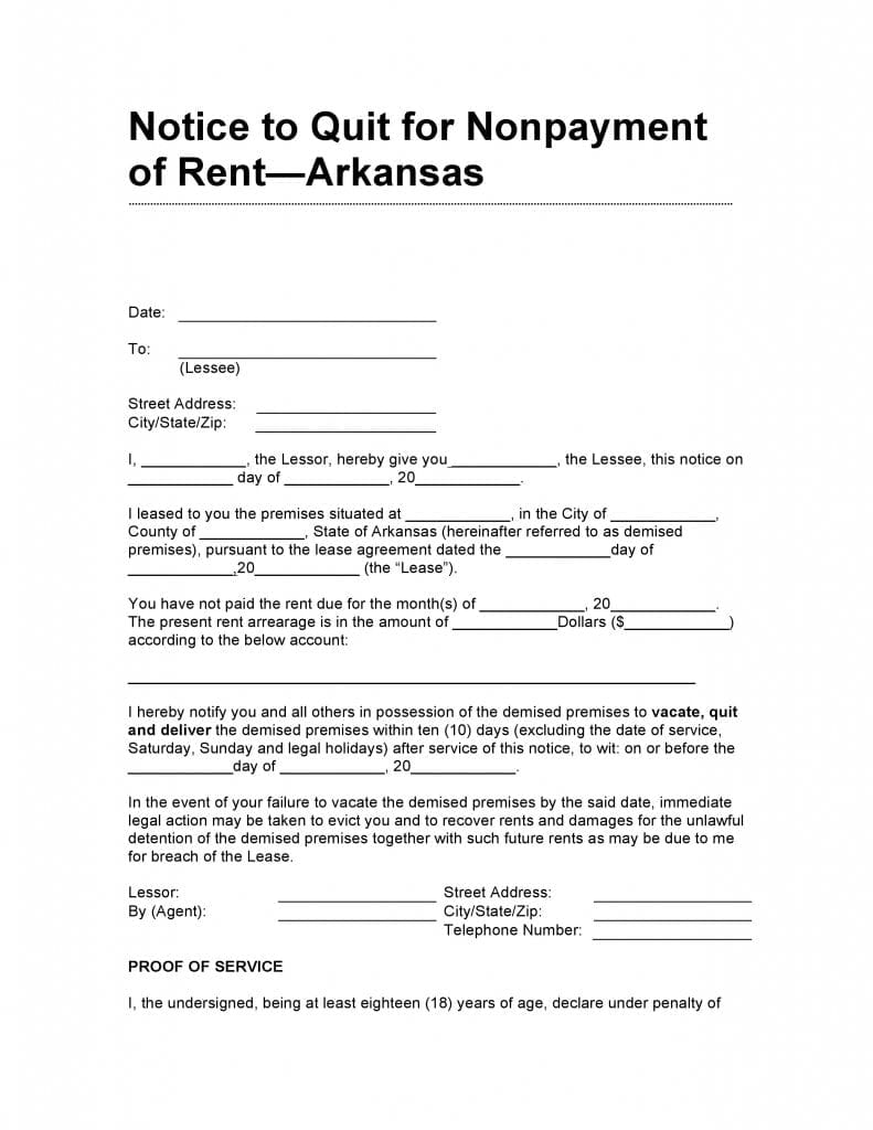 Arkansas 10 Day Notice to Quit for Non Payment of Rent