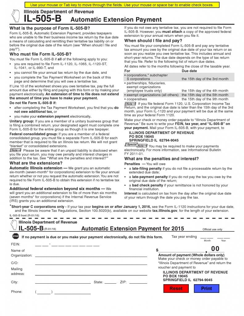 Automatic Extension Payment Form IL-505-B