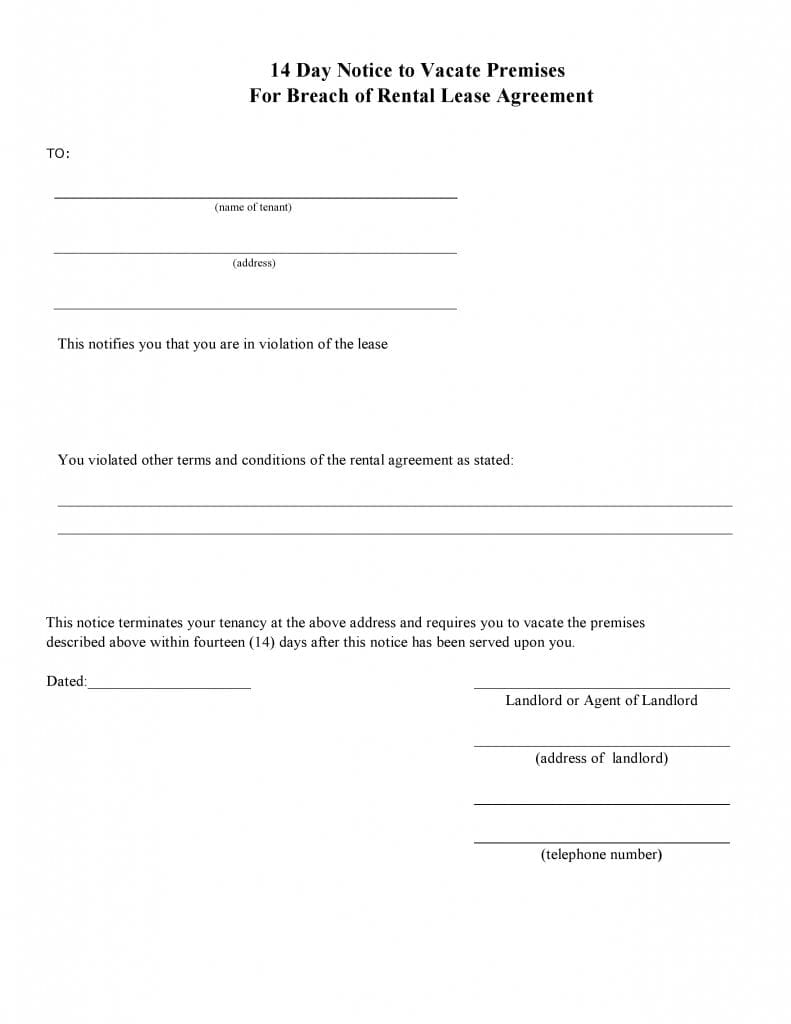 Blank 14 Day Eviction Notice Form for Breach of Agreement