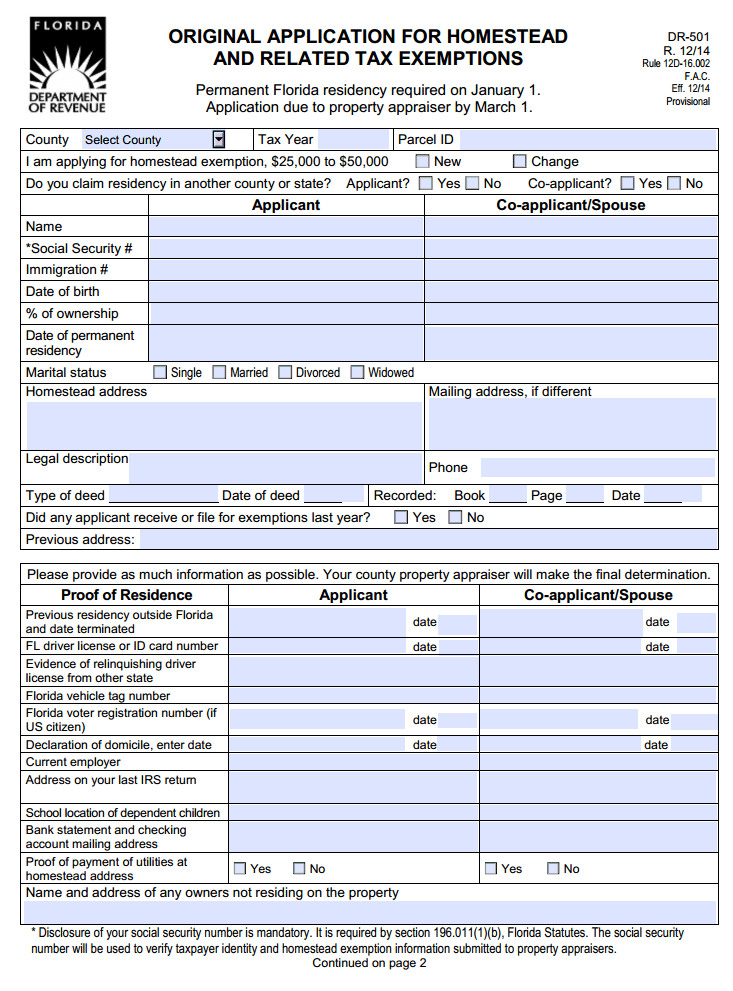 Florida Application for Homestead and Related Tax Exemptions