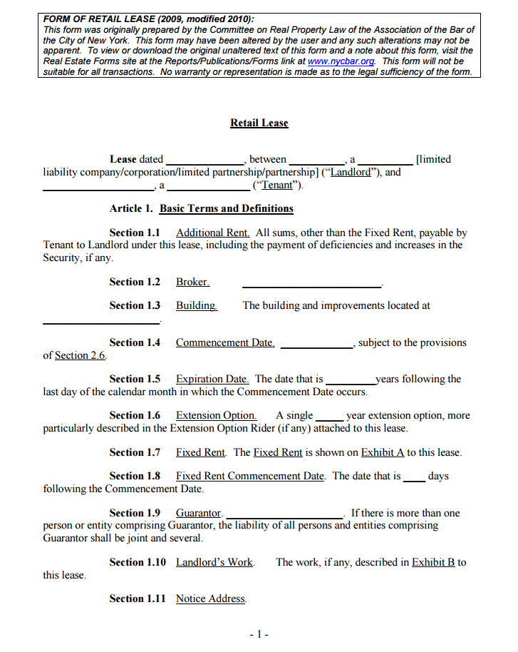 New York Retail Lease (NY Lease Form)