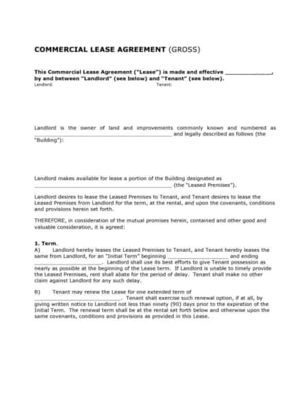 Commercial Rental Lease Agreement Pdf Docx Template