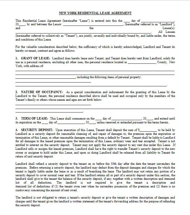 Free New York Residential Lease Agreement Pdf Docx