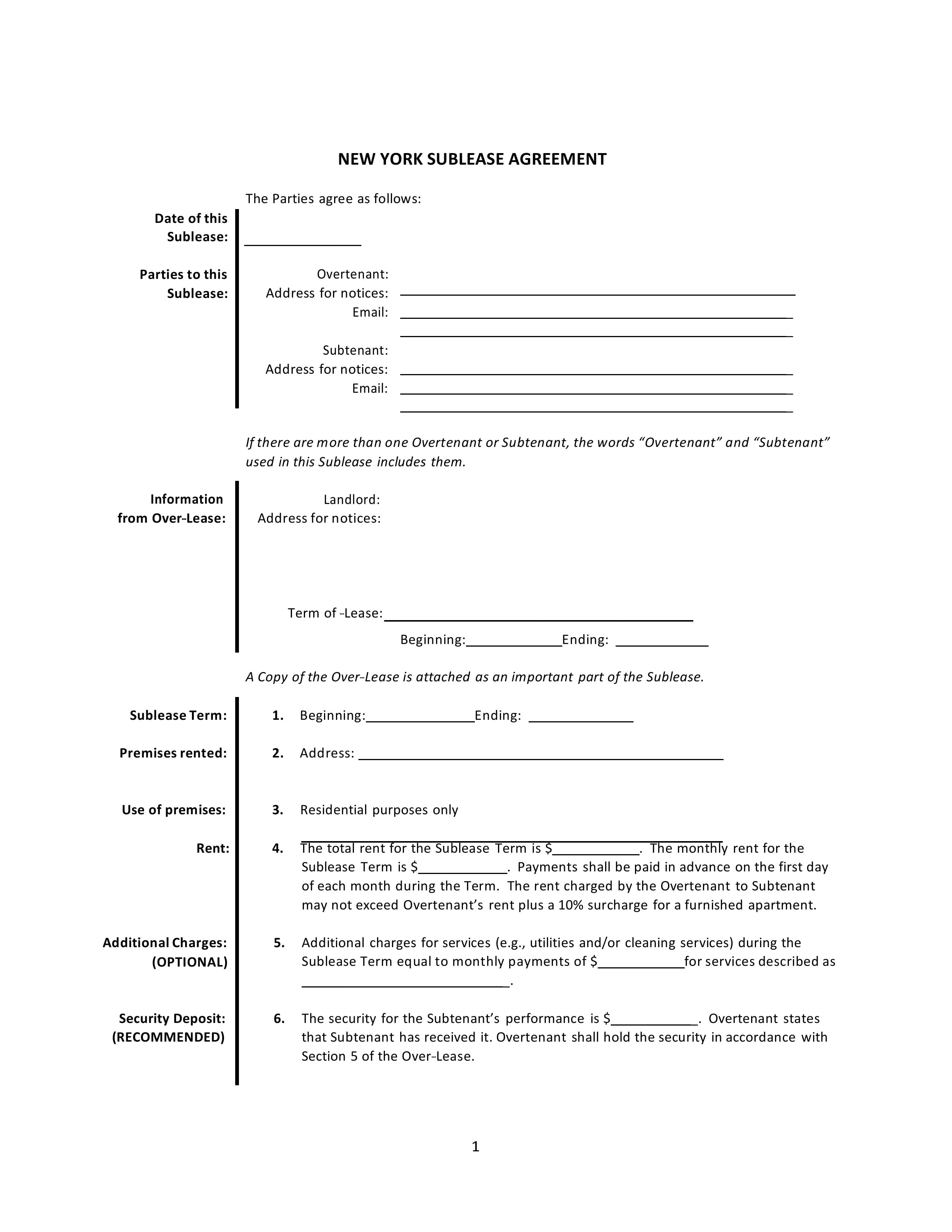 New York Sublease Agreement