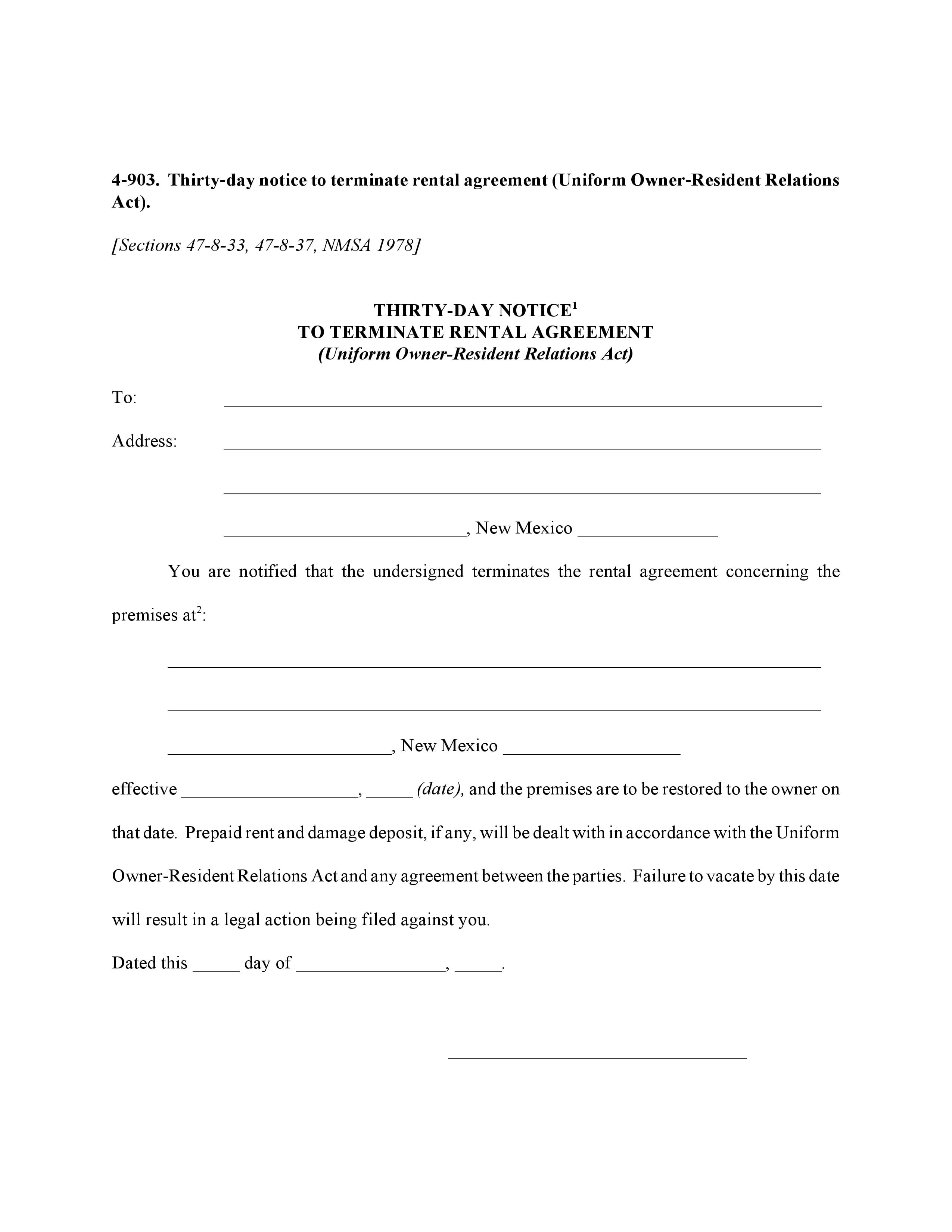 New Mexico 30 Day Notice to Terminate Rental Agreement