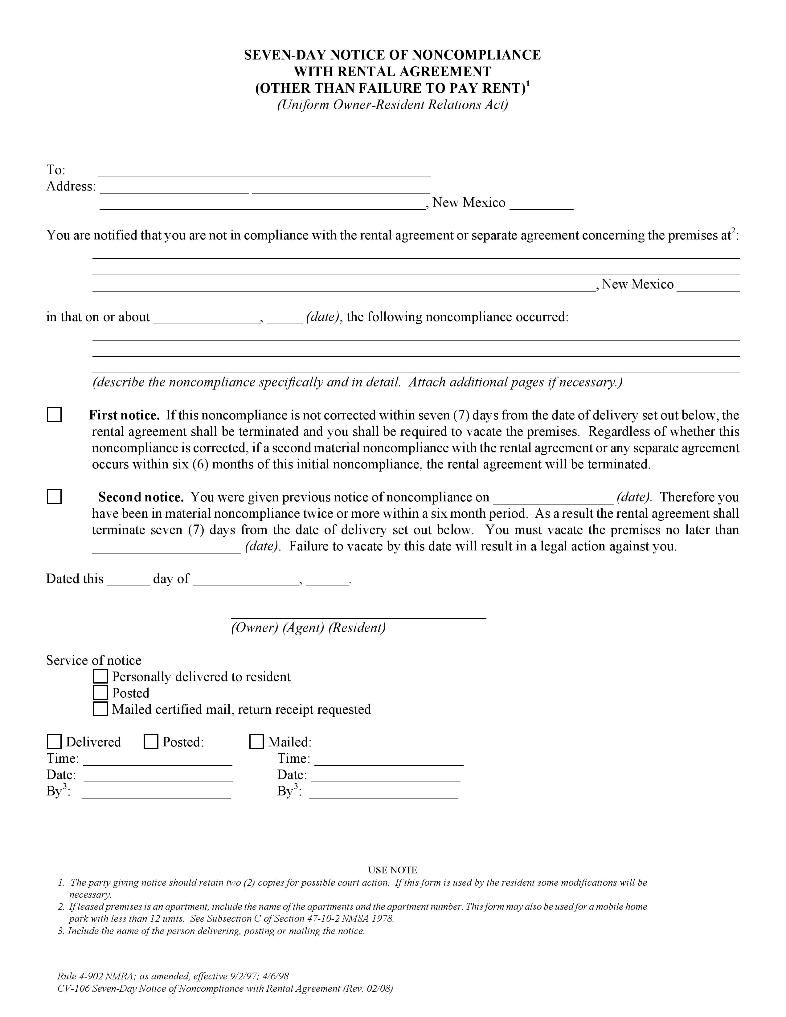 New Mexico 7 Day Notice of Non Compliance