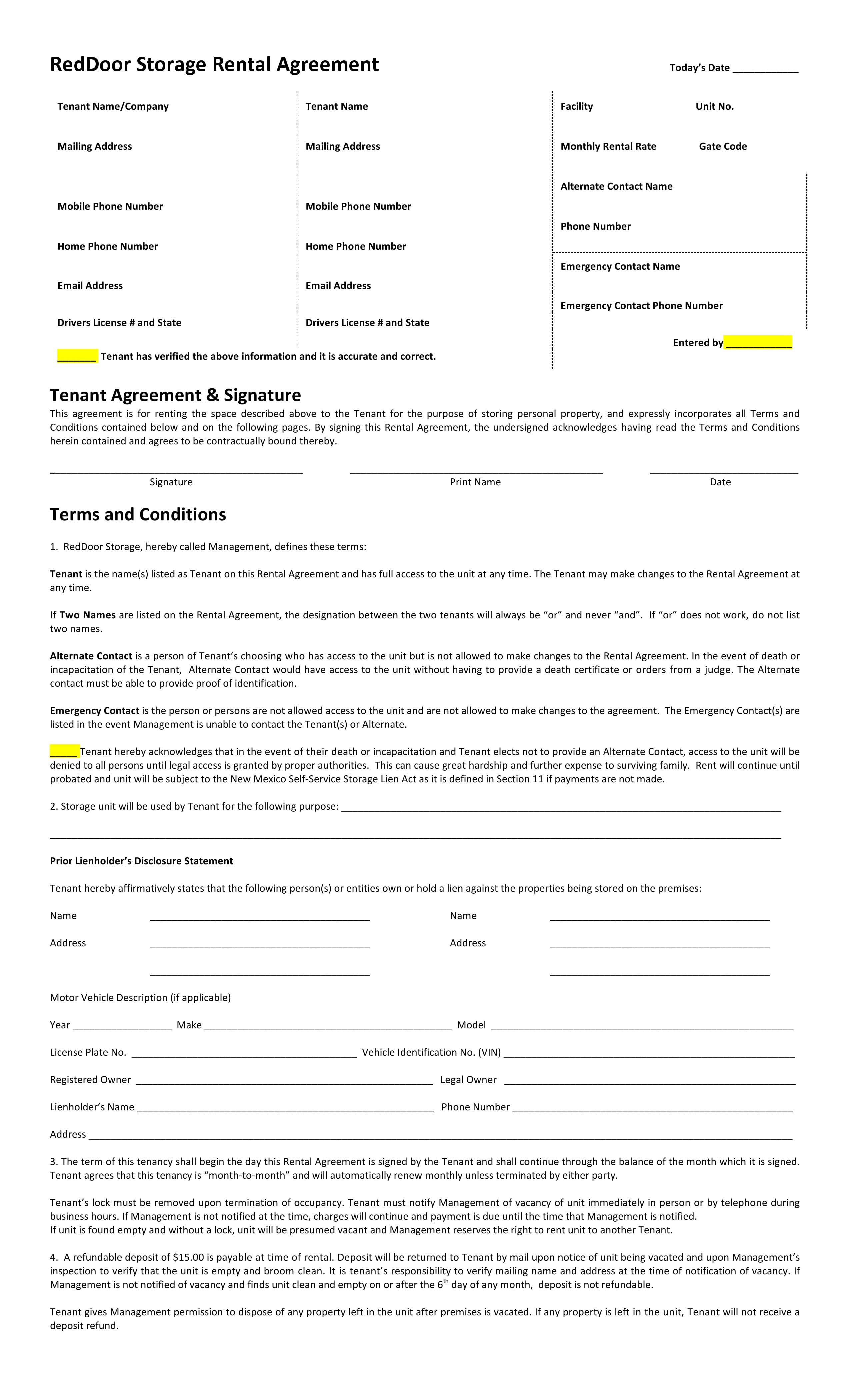New Mexico RedDoor Storage Rental Agreement