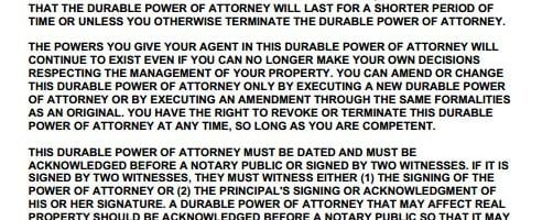 Durable Power of Attorney California Form