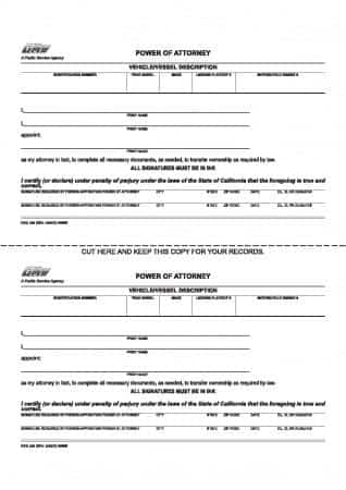 California Vehicle/Vessel Power of Attorney Form