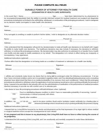 Florida Durable Power of Attorney for Health Care Form (Living Will)