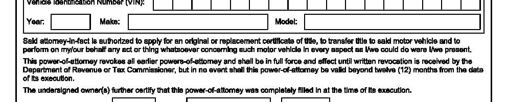 Georgia Motor Vehicle Power of Attorney