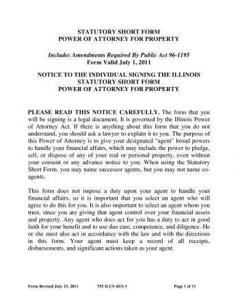 Illinois Statutory Short Form Power Of Attorney for Property