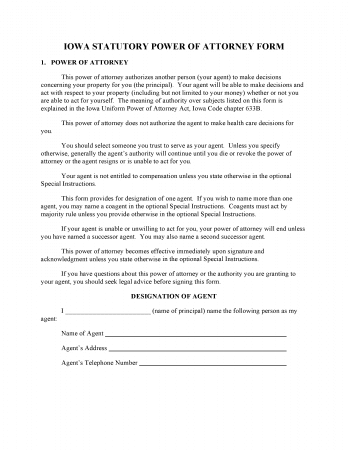 Iowa Statutory Power Of Attorney Form