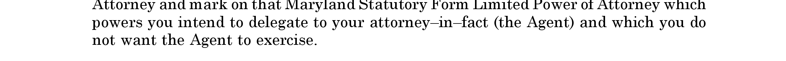 Maryland Statutory Form Personal Financial Power Of Attorney