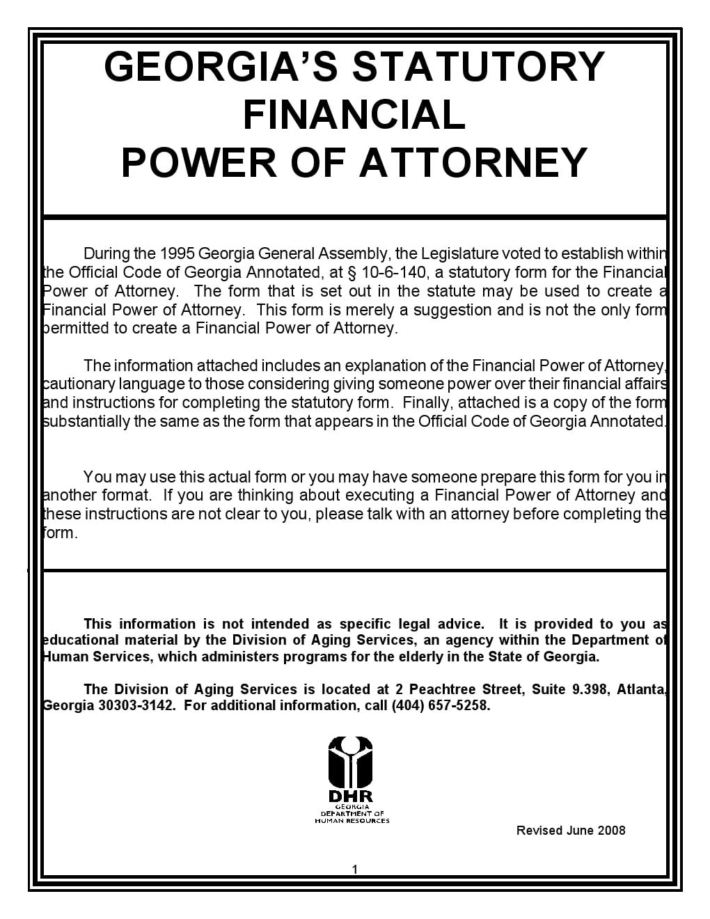 Statutory Fiancial Power of Attorney Georgia