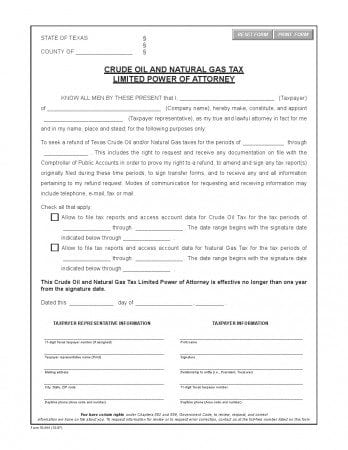 Texas Crude Oil Limited Power of Attorney Form
