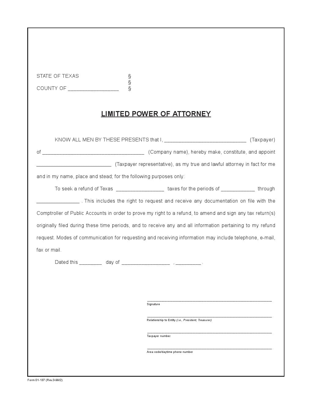 Texas Limited Power of Attorney Form